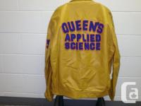 Queens university engineering leather jacket with nylon