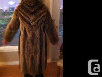 Raccoon coat, custom made, excellent condition. Size