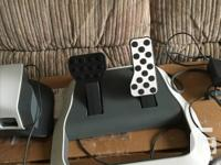 racing wheel with paddle shifts and foot pedals for