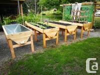 Heavy duty raised gardening troughs, fir structure with