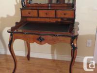 Antique maple and part-ebonised bonheur du jour desk