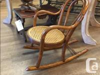 Late 1800's Antique Childs Bentwood Rocker Cane Seating