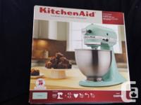 Gorgeous ice blue KitchenAid stand mixer. Very hard to
