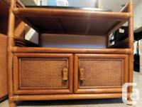 rattan (wicker) and cane cabinet with shelf; bound with
