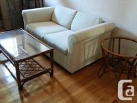 2-pce table set, rattan + glass-top. Coffee-table is