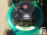 "A nice light little 20"" rear bagger lawnmower with a"