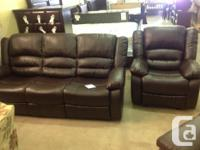 Brand-new leather reclining sofa and recliner chair