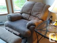 Brown micro-suede recliner couch and matching chair. NS