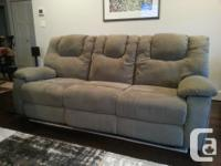 Reclining sofa and also 2 reclining/rocker chairs. Sage