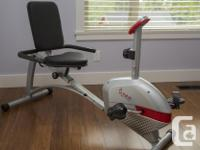 The Sunny Health & Fitness Magnetic Recumbent Bike is, used for sale  British Columbia