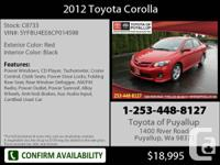 2012 Toyota Corolla  4 Dr Sedan Mileage: 34184 This