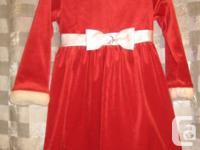 Red Christmas Santa Velvet Dress with faux fur trim - 4