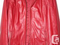 Medium size red Danier Leather Jacket in excellent