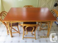 Beautiful 1950's Rattan Table and 4 chairs with