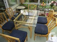 6 Rattan chairs, including 2 arm chairs, with glass