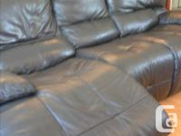 great couch, heavy leather, each end electric reclining
