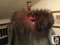 Vintage handcrafted Eskimo wool coat with hood and fur