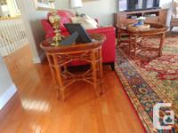 Matching bamboo coffee table and two end tables in as