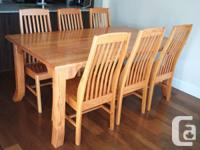 Solid oak dining table with 6 chairs custom made by