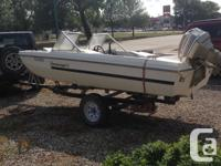 1977 16ft Peterborough open bow boat for sale. Evinrude