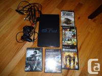 Playstation 2 console, controller, memory card & 5