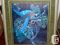Beautiful fine art of blue and gold macaws and frog.