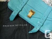 Never used. gorgeous LAGOON color.   Leather flap front