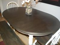 Refinished smaller oval dining table with lovely turned