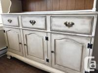 Gorgeous refinished Solid maple buffet and hutch.