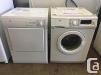 We currently have a refurbished AEG stacking washer and