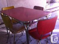 Chrome and formica table and 4 chairs, circa 1950's,