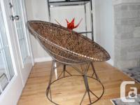 Cute vintage modern wicker and metal accent chair. It