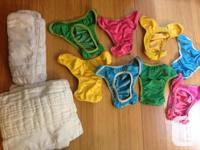 Like new! Set of 8 reusable Booroi style snap diaper