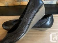 Reiker Antistress black leather wedge shoes for sale -