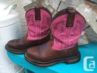 Pretty Pink & Brown Leather Boots made by Rocky. Pink