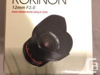 Rokinon 12mm f2.0, excellent condition, original box