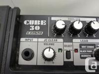 This is a used Roland Cube 30 guitar combo. It features