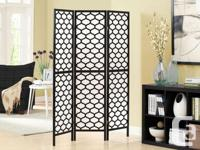 Monarch Room Divider, black with rice paper inserts.