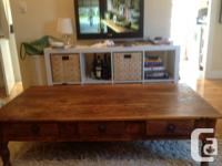 Rosewood Indian Coffee Table With 3 drawers, iron