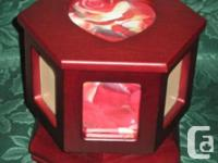 SPINNING IMAGES ~ CHERRY ~ WOOD FASHION JEWELRY BOX **