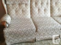 Sofa 3 cushions w/ lazy swivel chair , Roxton arms. In