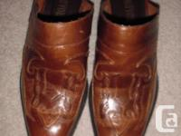 Rust tinted natural leather burros, girls dimension