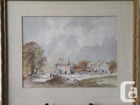 Farmhouse Rural Village Watercolor by F. Flower