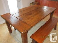 Rustic Country Kitchen Table and 2 Benches - hand made