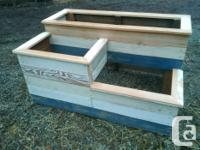 Rustic all wood 3 tiered planter box built entirely