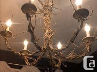 Beautiful 6 light chandelier, handmade, great base for