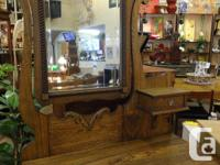 Antique three drawer dresser with mirror and little top