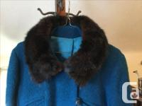 Gorgeous deep turquoise wool vintage women's coat with