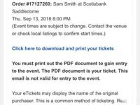 2 tickets to see Sam Smith in Calgary on September