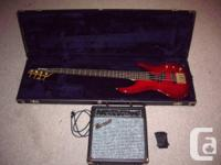 Red Samick Bass:. -Clear red with gold hardware. -Great